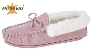 Ladies Real Suede Leather Moccasin Wool Lining  Hard-wearing Sole  PINK